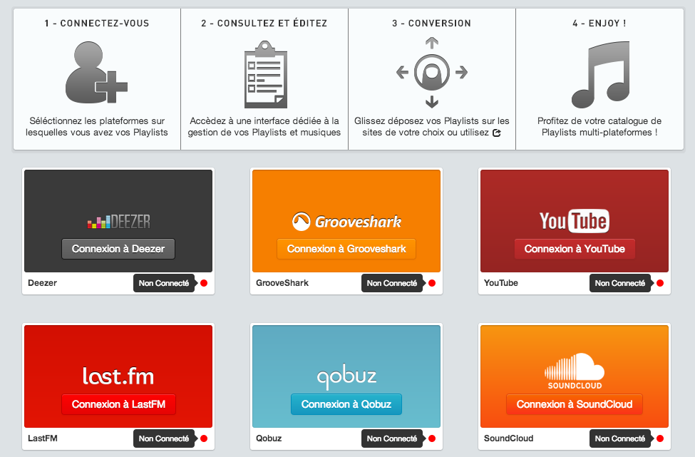 Soundiiz – Convertissez vos playlists Deezer, Grooveshark, last.fm, Youtube, …